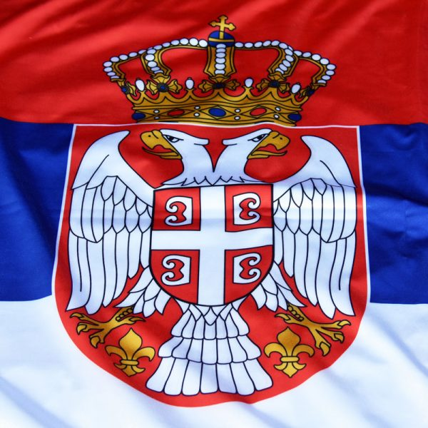 Državna zastava Srbije od krep satena.