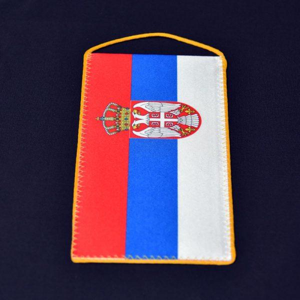 Zastava Srbije nacionalna stona, kaširana svila.
