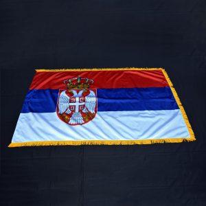Nacionalna zastava Srbije sa resama, krep saten.