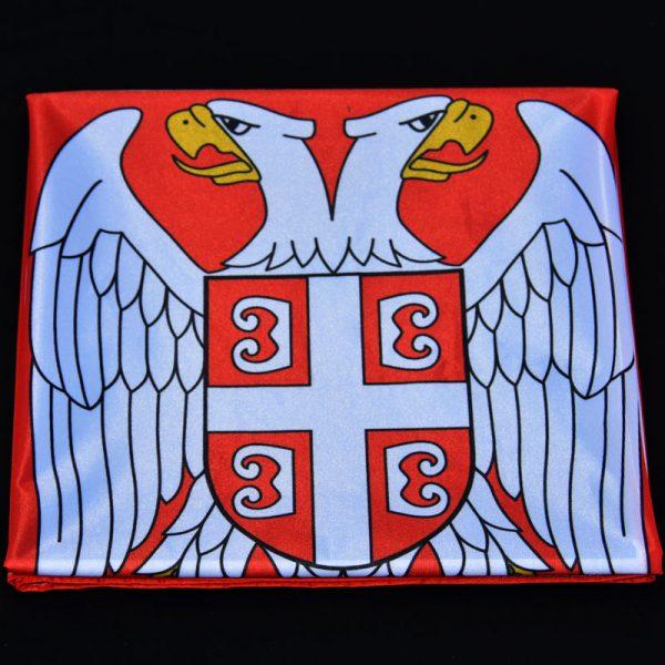Savijena zastava Srbije od poliestera.