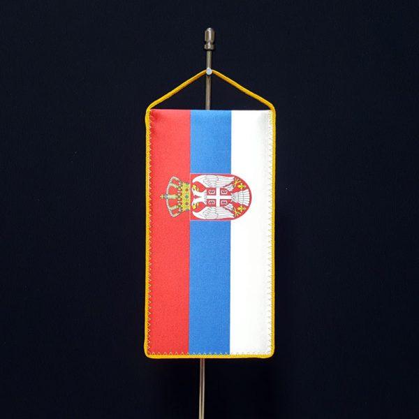 Stona zastava Srbije, kaširana svila.