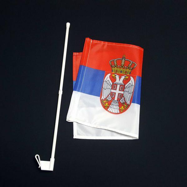 Zastava Srbije za automobil sa plastičnim auto nosačem.