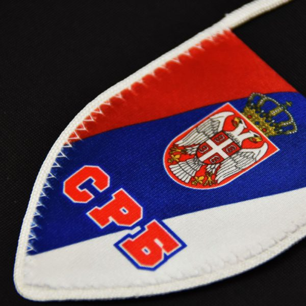 Zastavica Srbije nacionalna sa grbom za retrovizor.