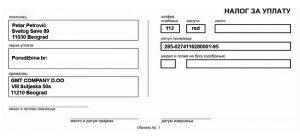Primer uplatnice za plaćanje naručenih artikala.
