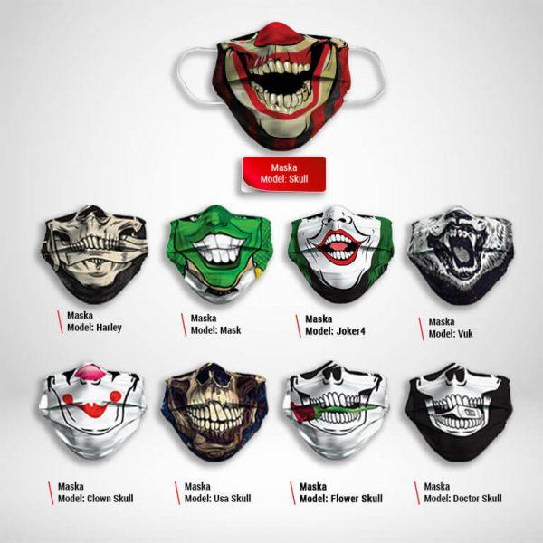 Maska za lice katalog Skull print zastaveshop
