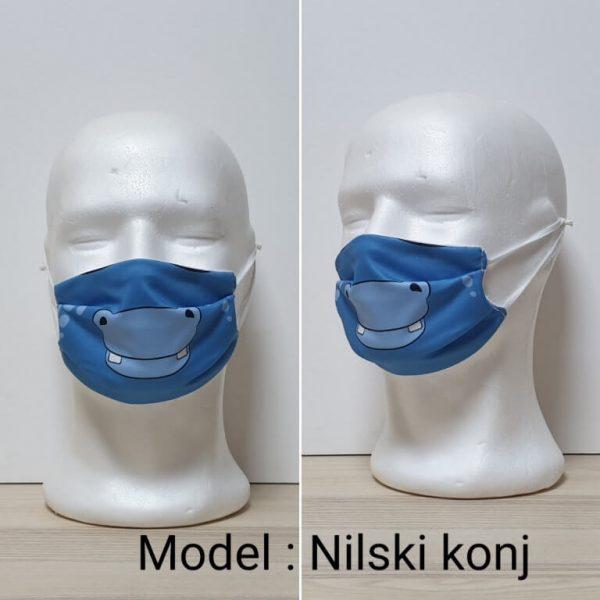 Maska za lice - Dečiji print Model Nilski konj zastaveshop
