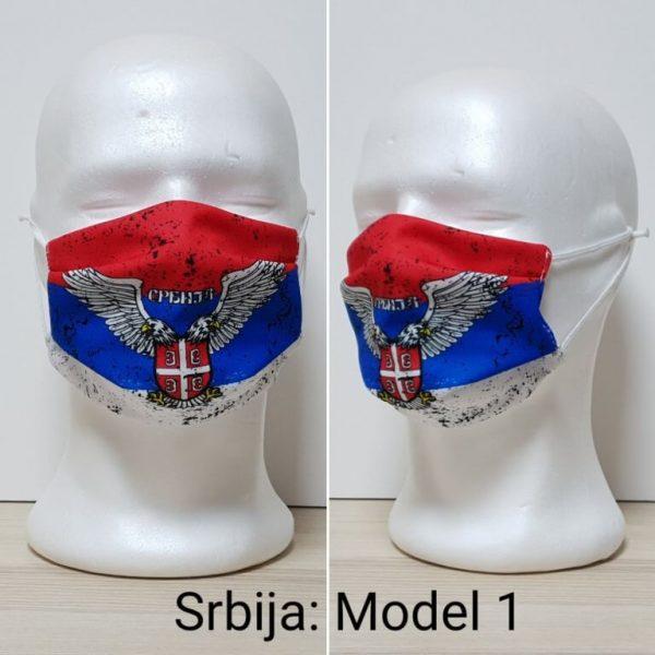 Maska za lice Srbija print Model Srbija 1 zastaveshop