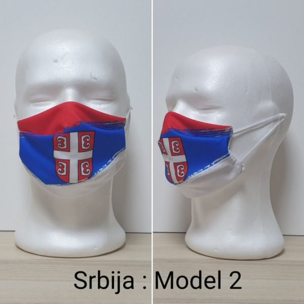 Maska za lice Srbija print Model Srbija 2 zastaveshop